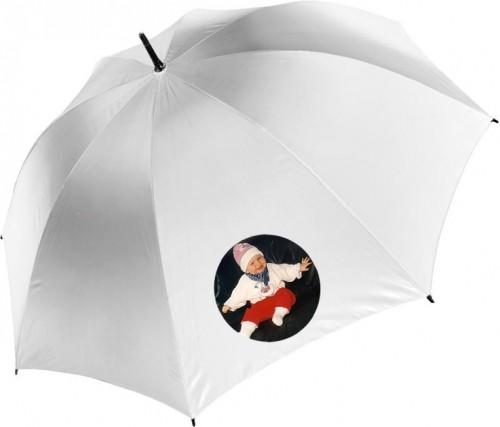 Regenschirm Automatik in weiß mit Fotodruck (1 Segment)